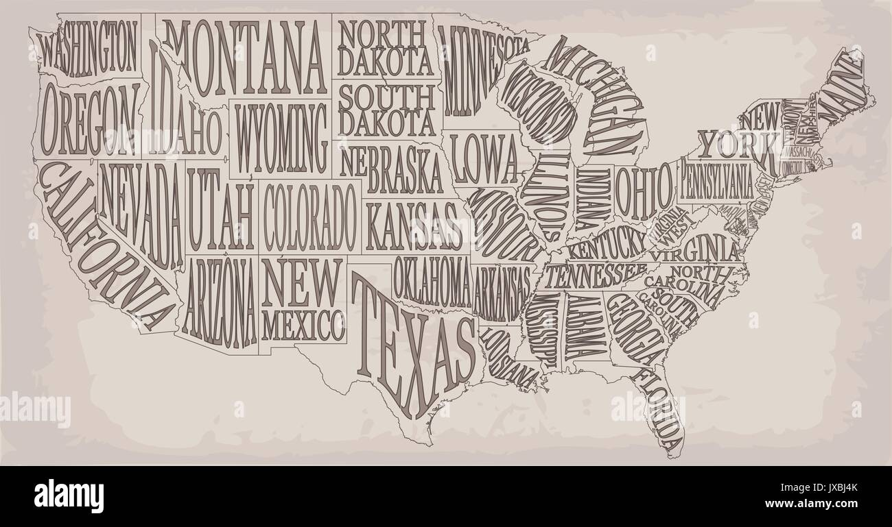Blank similar high detailed decorative USA map on white ...