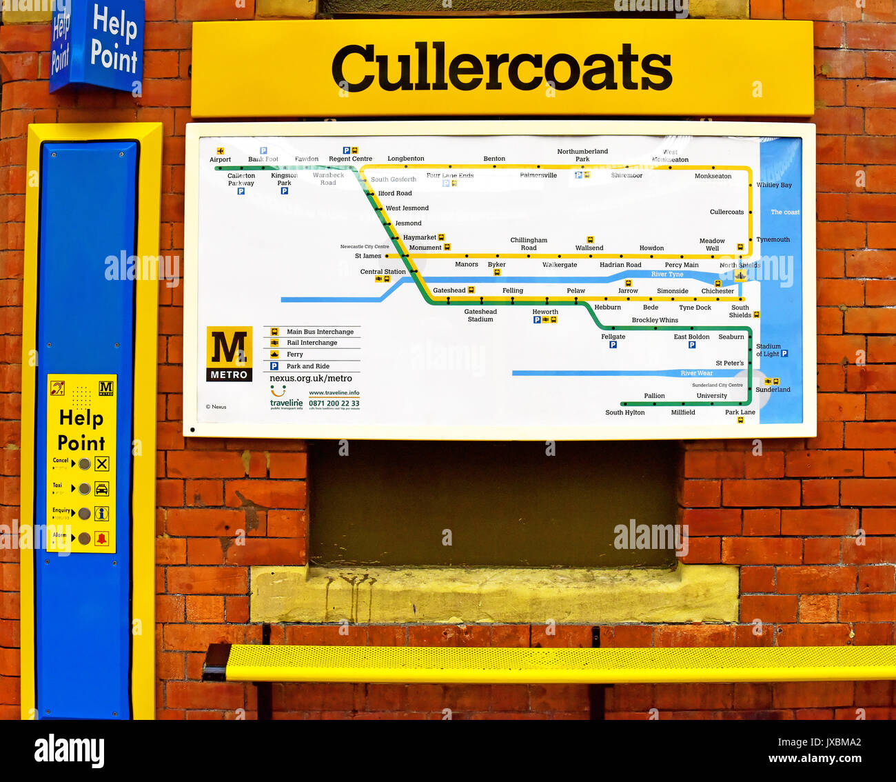 Cullercoats Metro station Metro map and information Stock Photo