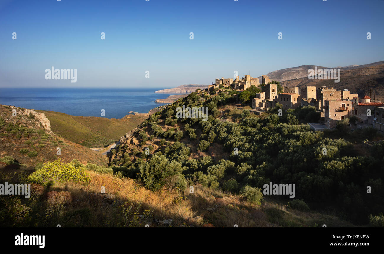 Hill-top village of Vathia in the Mani peninsula of the Southern Peloponnese, Greece - Stock Image
