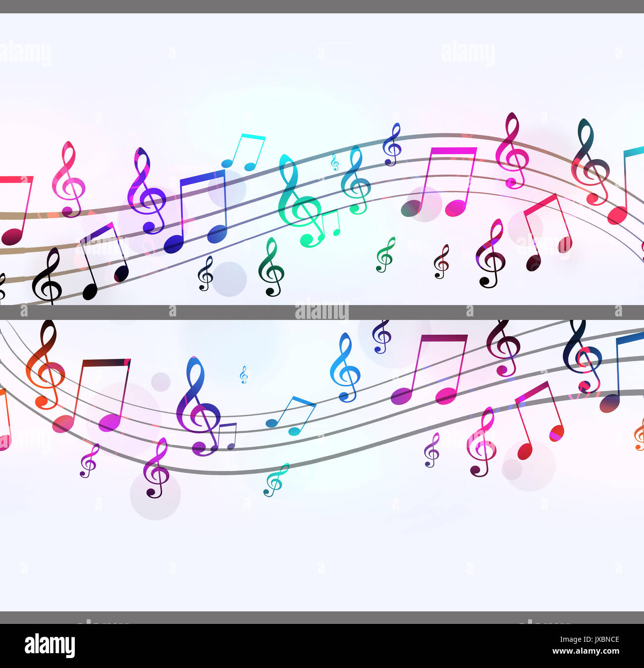 Multicolor Music Note Banners For Flyers And Club Posters
