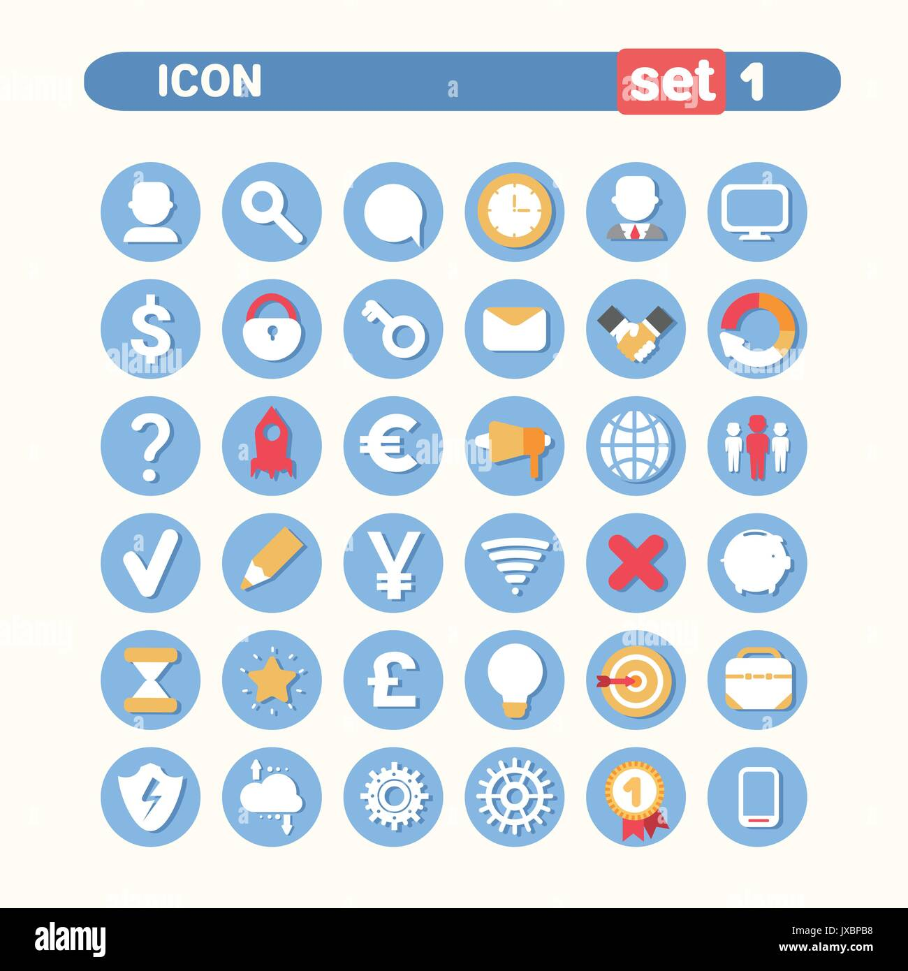 Modern Icons Set Web Buttons Collection - Stock Vector