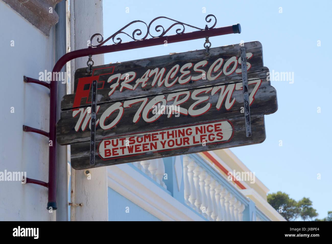 Sign for Moto rental Francescos company, Aghia Marina, Leros, Greece. - Stock Image