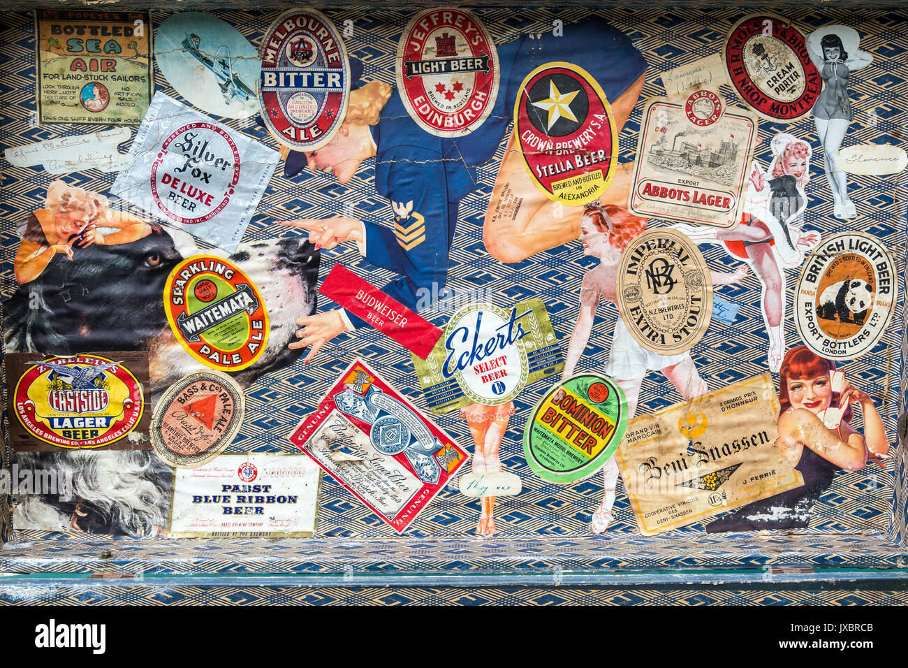 trunk containing old beer labels, abbots lager,australian suitcase, British light beer,suitcase,Suitcase, Label, Travel, Journey, Old, Vacations, Bag, - Stock Image