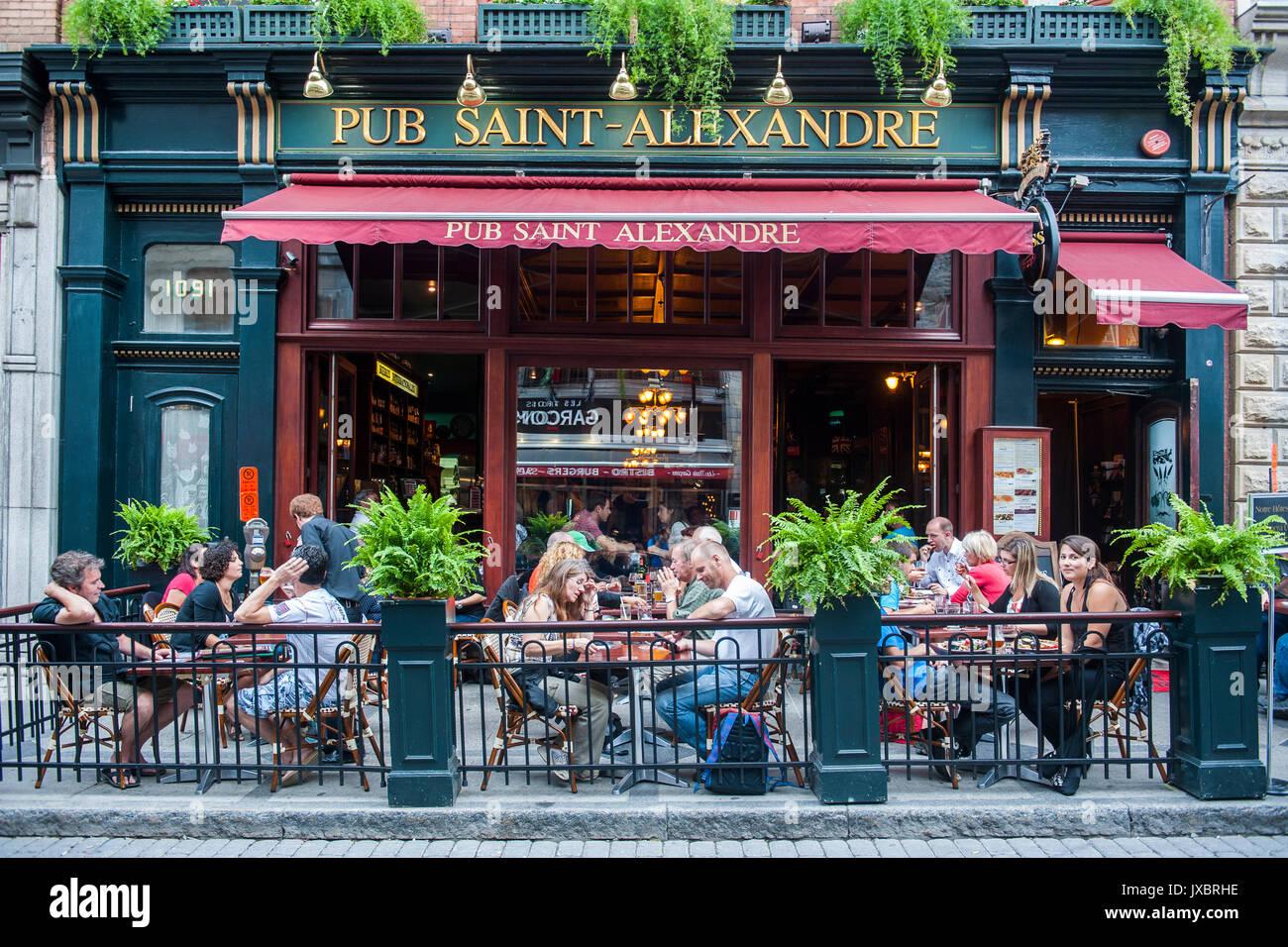 People in street restaurant, Quebec City, Quebec, Canada - Stock Image