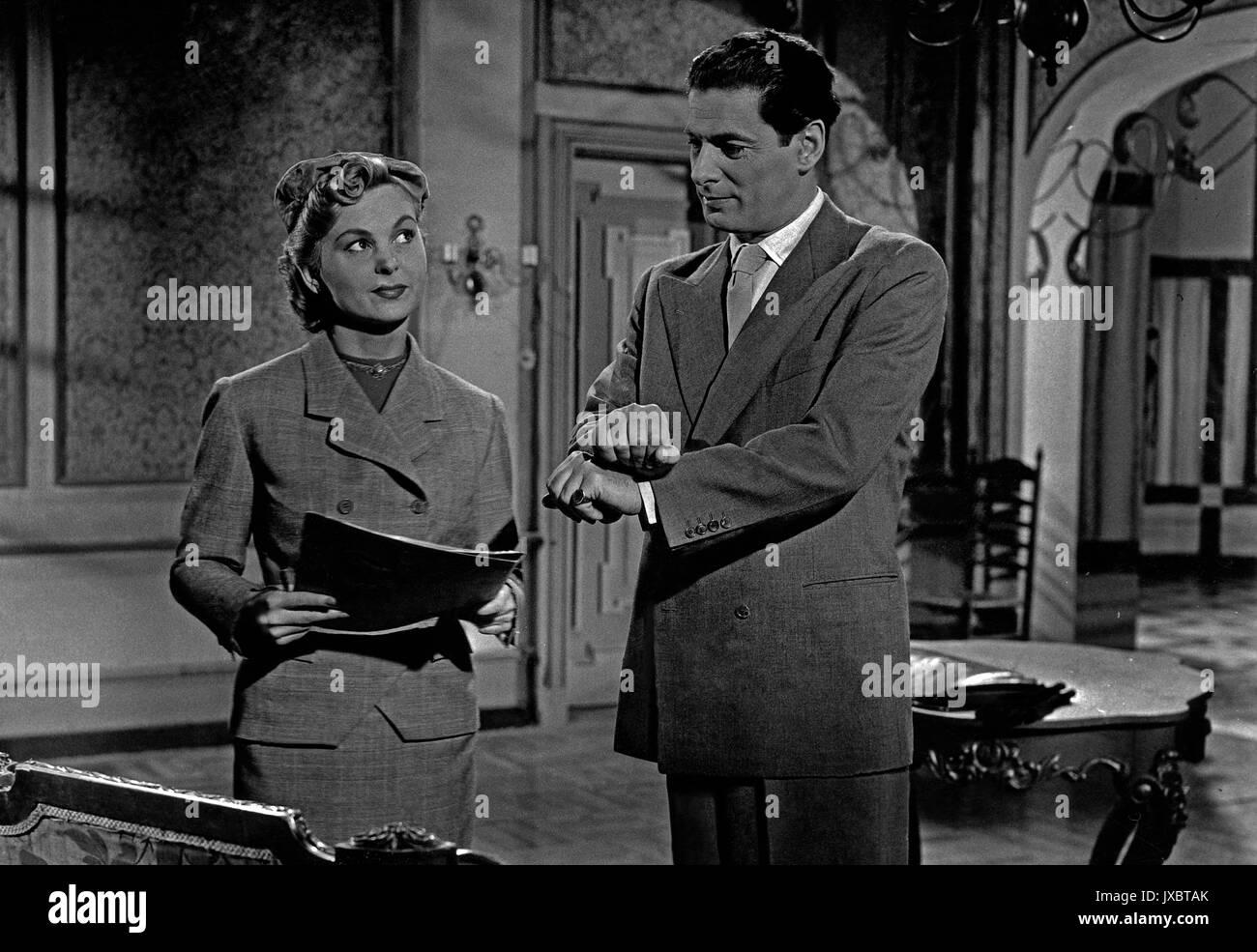 Engel im Abendkleid, aka: Paulchen und die Millionenerbschaft, Deutschland 1951, Regie: Akos Rathonyi, Darsteller: Bruni Löbel, Rudolf Prack - Stock Image