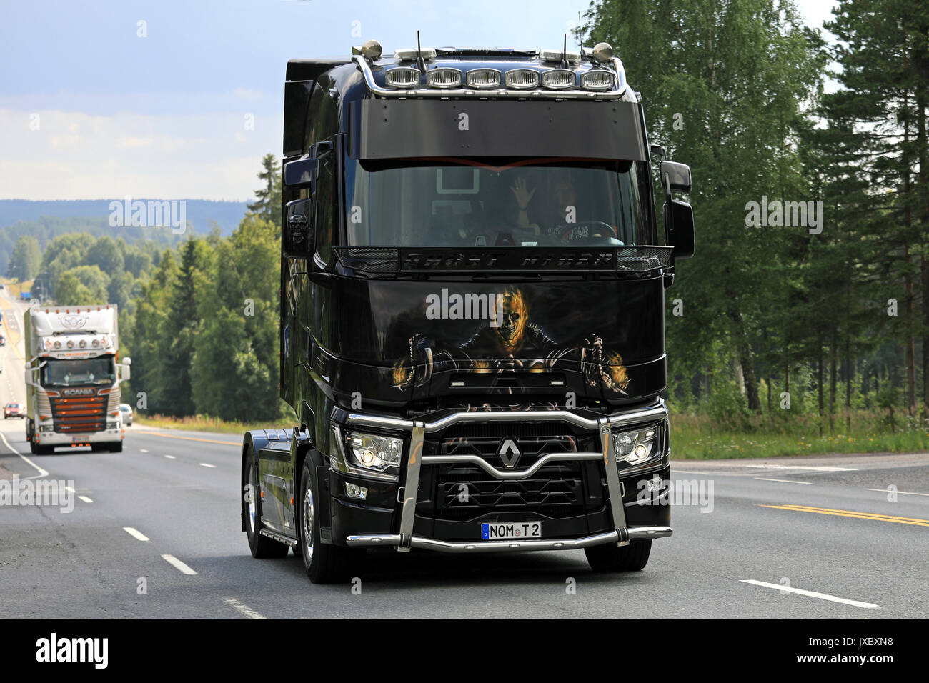 IKAALINEN, FINLAND - AUGUST 10, 2017: Renault Trucks T Ghostrider takes part in the truck convoy to the annual trucking event Power Truck Show 2017 in - Stock Image