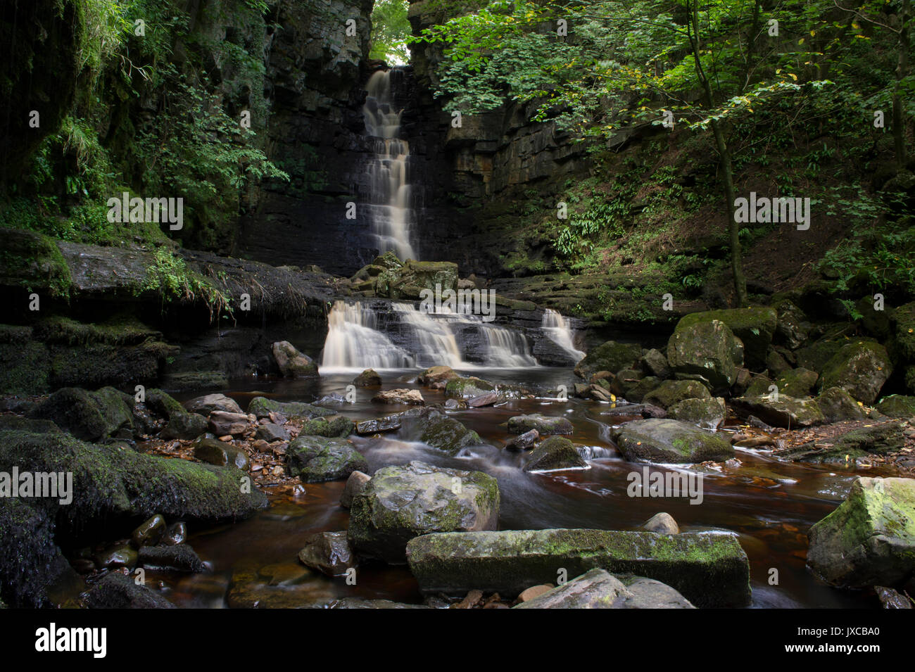 Mill Gill Force Waterfall outside the village of Askrigg near Hawes in the Yorkshire Dales National Park, North Stock Photo