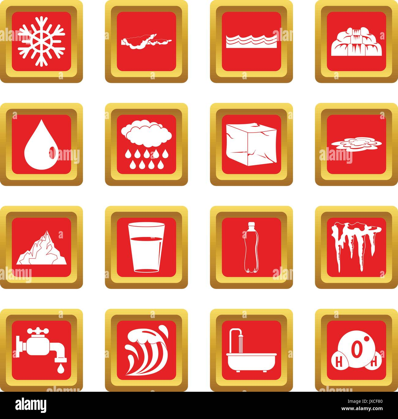 Water icons set red - Stock Vector