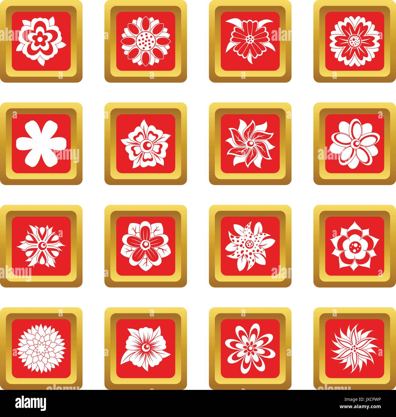 Different flowers icons set red - Stock Image