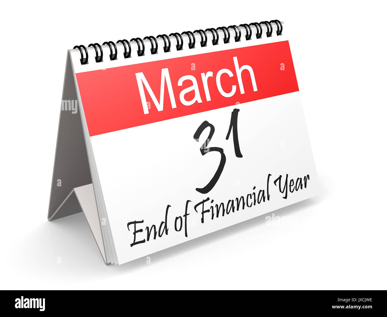 March 31 on Red and white calendar, 3D rendering - Stock Image