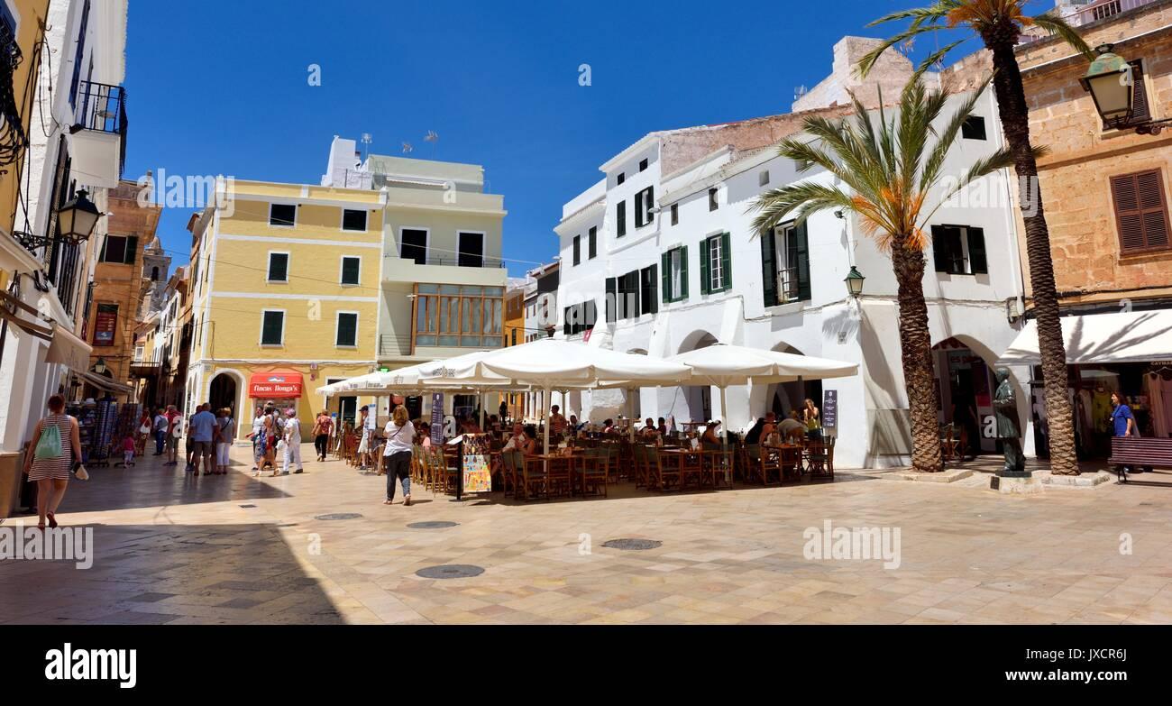 Street cafe restaurant restaurants menorca minorca - Stock Image