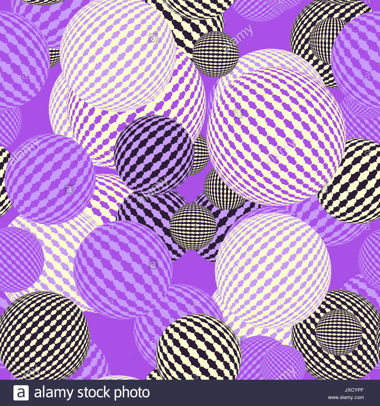 floating balloons seamless tile in purple shades - Stock Image