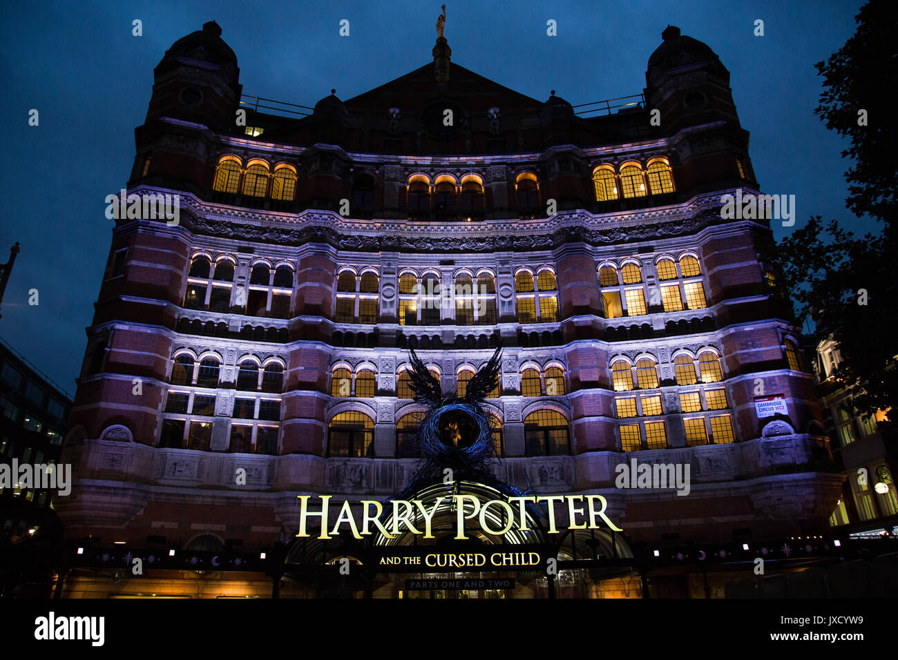 Harry Potter and the Cursed Child play at Palace Theatre in Deep blue and purple colours taken late twilight on Shaftesbury Avenue, London UK. - Stock Image