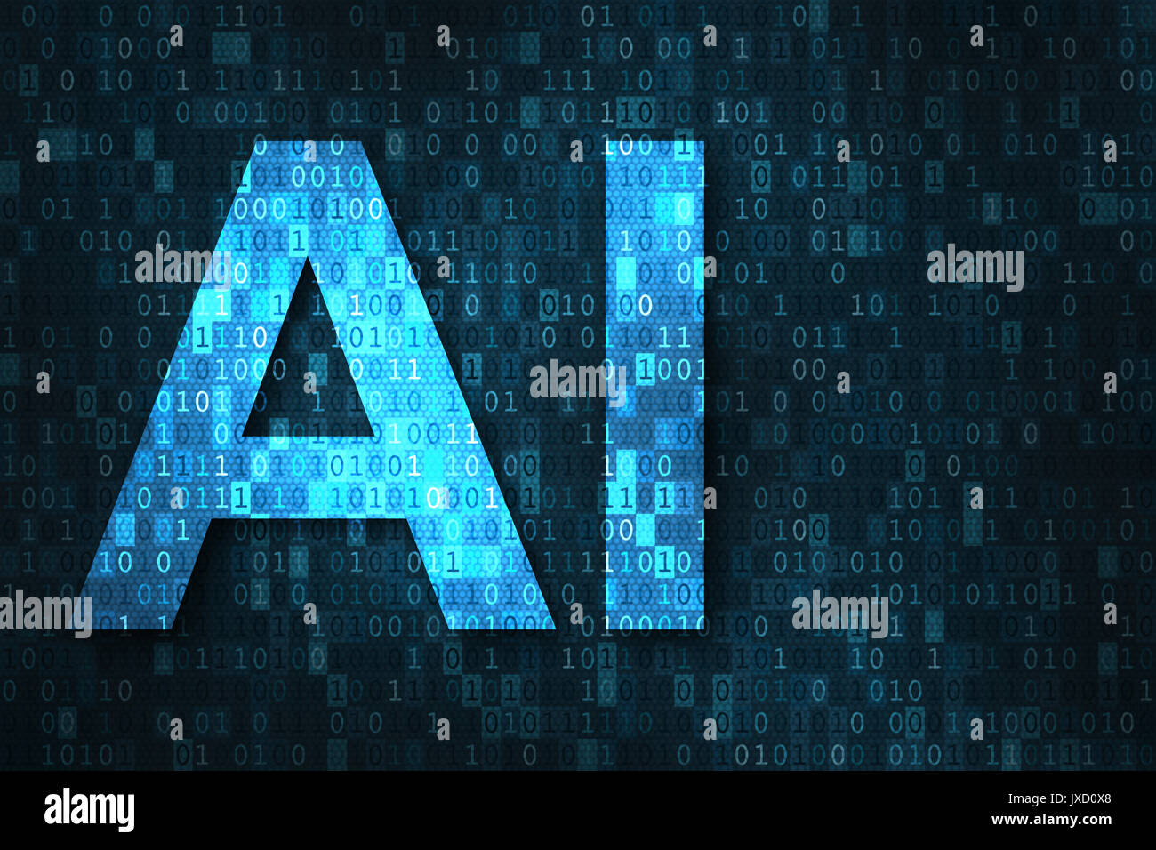 Artificial intelligence illustration with blue text AI over binary code matrix background. Abstract concept of cyber technology and automation - Stock Image