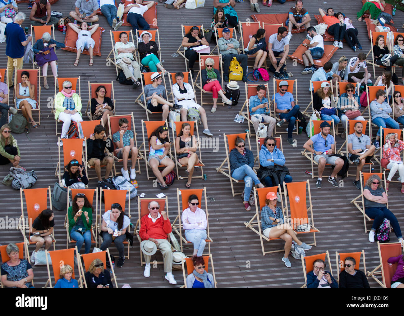 French Open 2017 Feature,Spectators sitting in deck chairs. Stock Photo