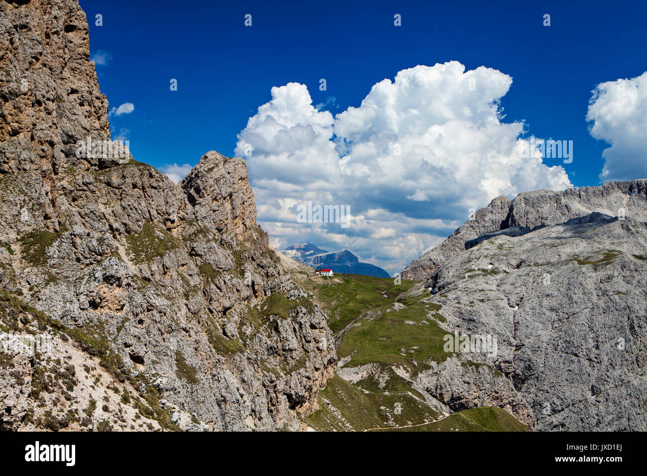 Alpe di siusi, Dolomites, Northern Italy, Refugio Alpe di Tires - Stock Image