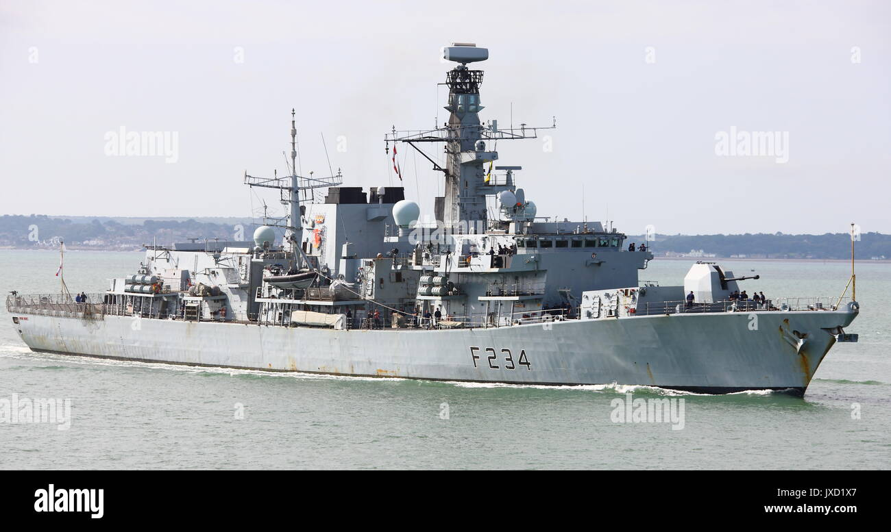 Royal Navy Type 23 Frigate HMS Iron Duke (F234) arriving home to Portsmouth in August 2017. - Stock Image