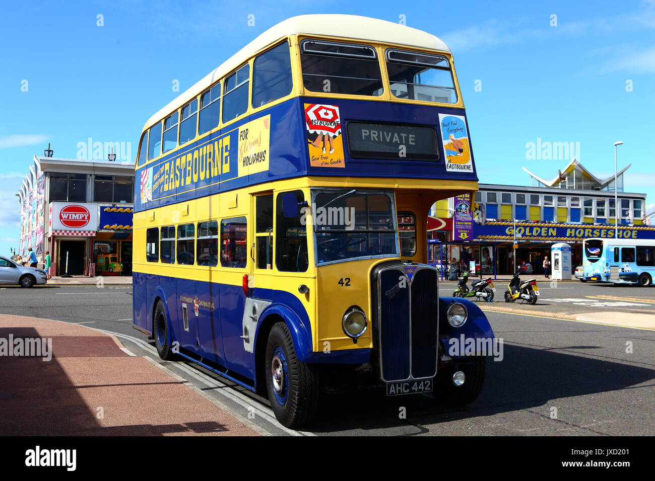 Preserved Eastbourne Corporation AEC Regent double-deck bus AHC 442 seen on a visit to Southsea. Stock Photo