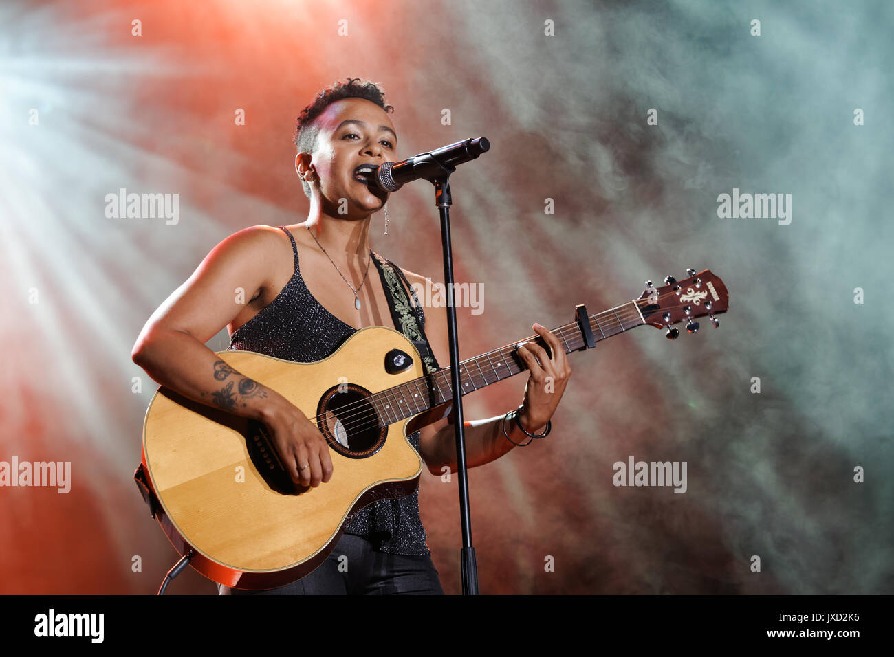 Montreal Canada, 14/08/2017 . B.C. vocalist Ms Holmes performs on stage at the Excellence show held during Montreal Pride week - Stock Image
