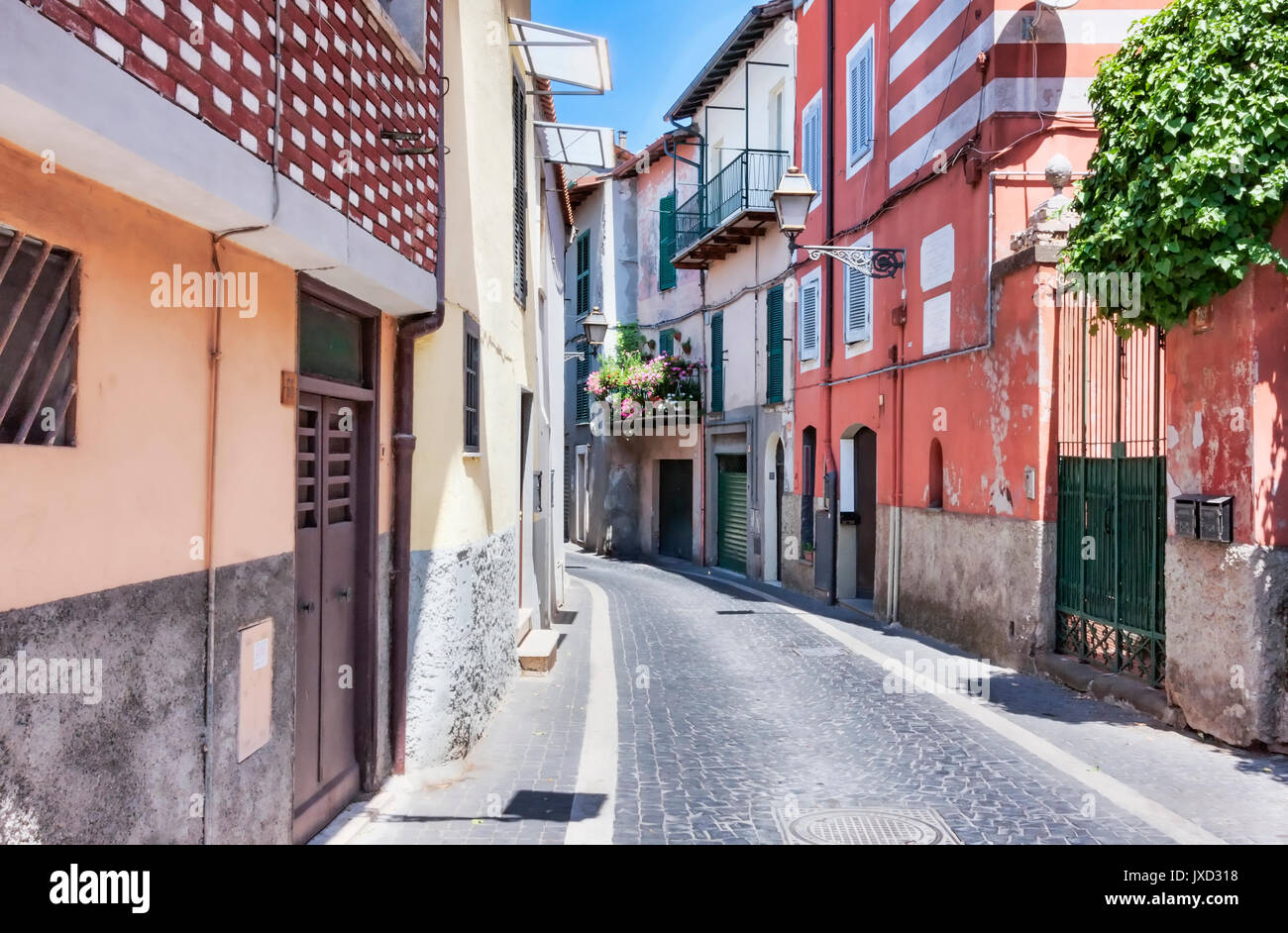 Village of Rocca di Papa main street view - Rome - Italy - Stock Image