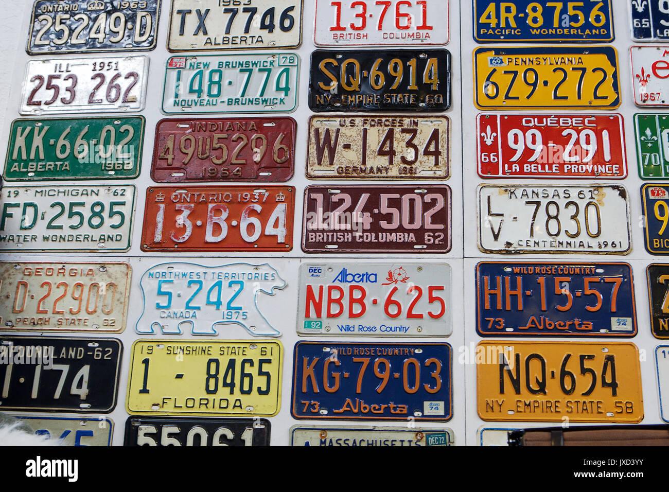 Random number plates (primarily Canadian) - Stock Image