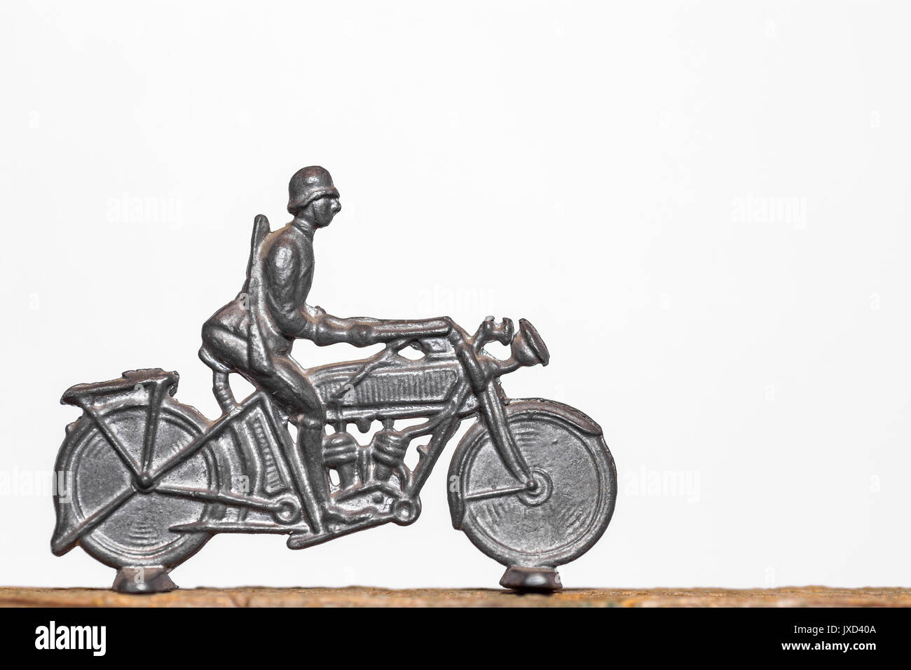 Tin soldier on motorcycle - Stock Image