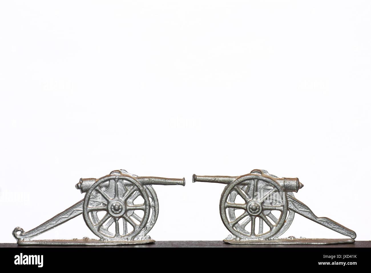 Tin miniature cannon - Stock Image