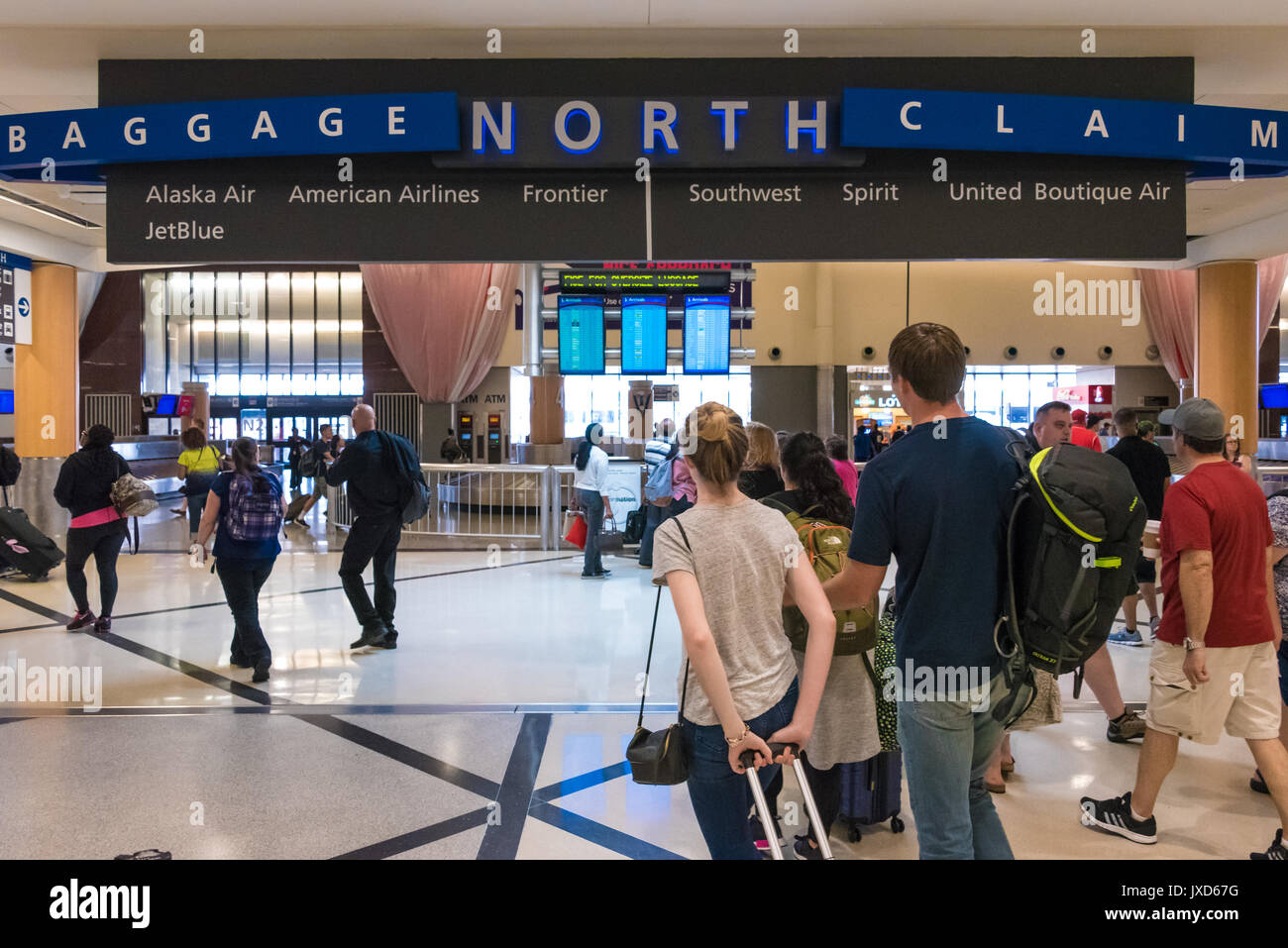 North Terminal baggage claim at Hartsfield-Jackson Atlanta International Airport, the world's busiest airport, in Atlanta, Georgia, USA. - Stock Image