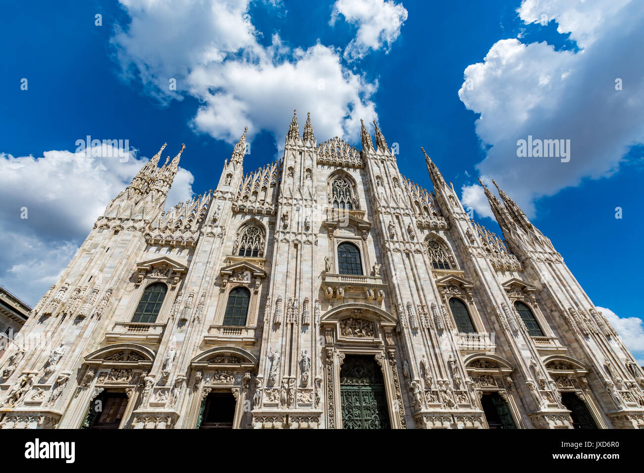View of the Milan cathedral - Duomo di Milano on a beautiful day, Italy - Stock Image