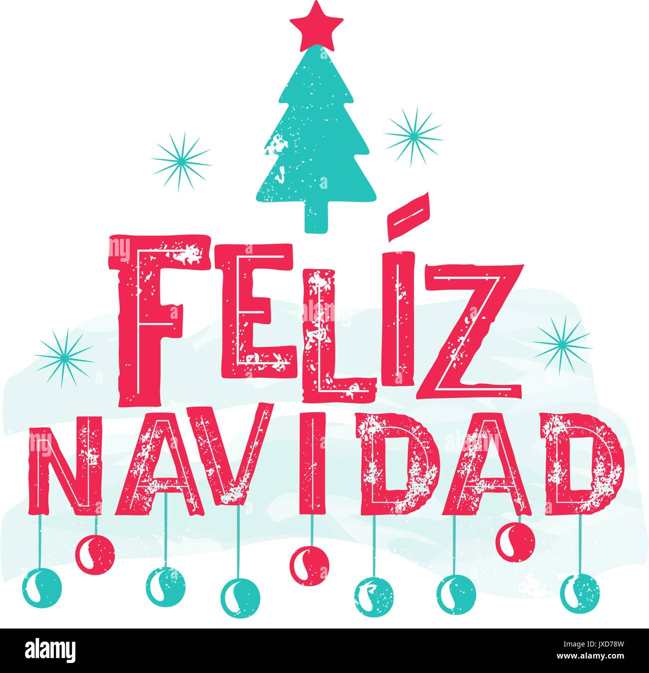 Christmas Spanish.Feliz Navidad Merry Christmas Spanish Language Stock