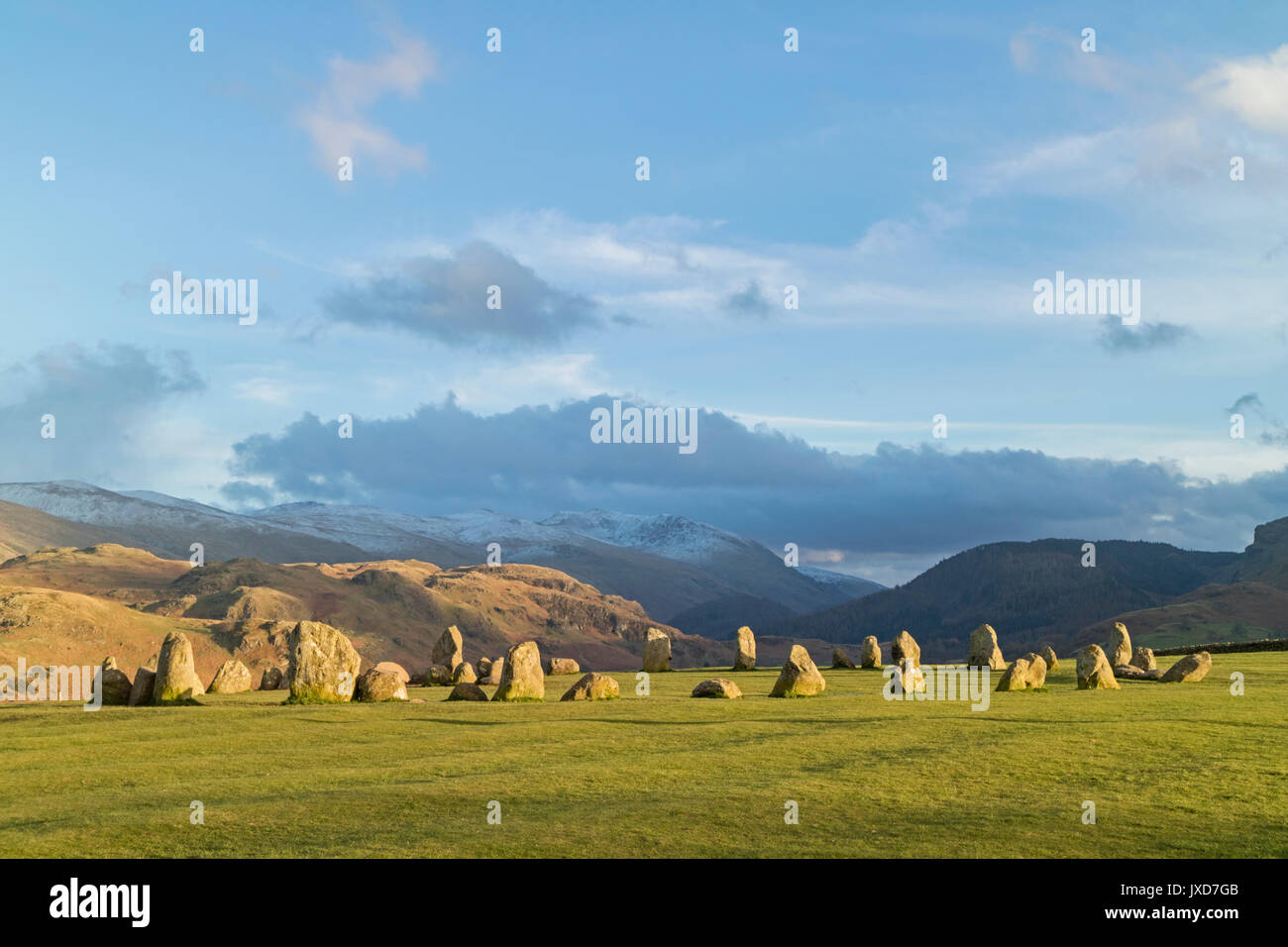 Castlerigg Stone Circle a neolithic monument in the Lake District National Park near Keswick, Cumbria, England, UK - Stock Image