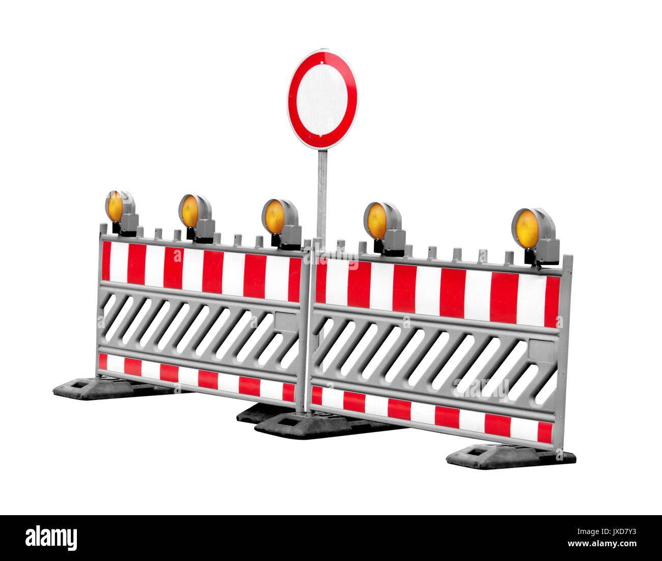 No thoroughfare construction side traffic signs isolated Stock Photo