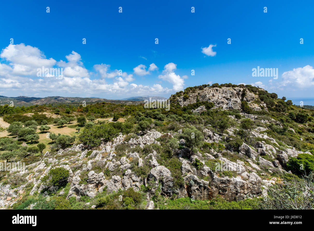 Magnificent landscape view from Asklepios castle, Rhodes island, Greece - Stock Image
