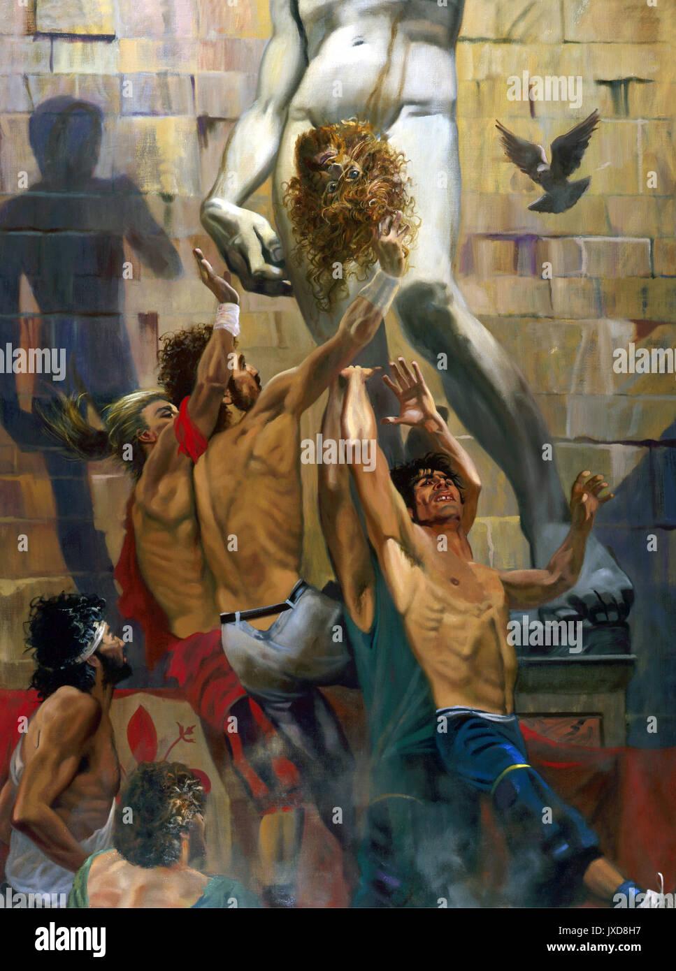 """In the Shadow of David-calcio storico """"historic football"""" in  Piazza della Signoria with a copy of Michelangelo's Stock Photo"""