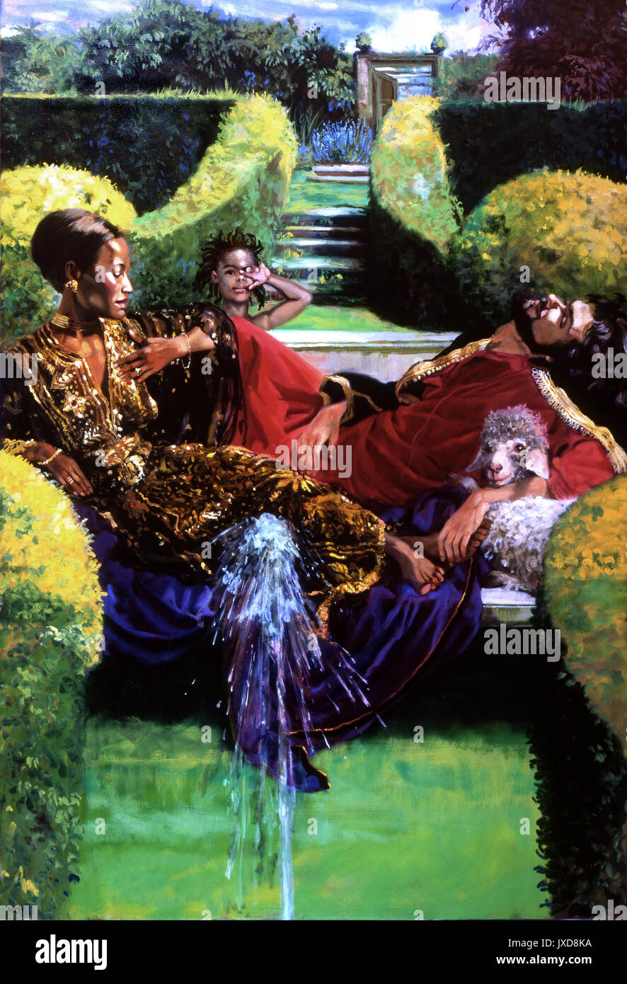 This oil on linen depicts King Solomon, dozing a sheep under his arm and the Queen of Sheba, pensive in West Dean Gardens in West Sussex . Behind his parents Menelik looks toward the viewer. A fountain gushes in the foreground. All is calm, luxury and voluptuous. - Stock Image