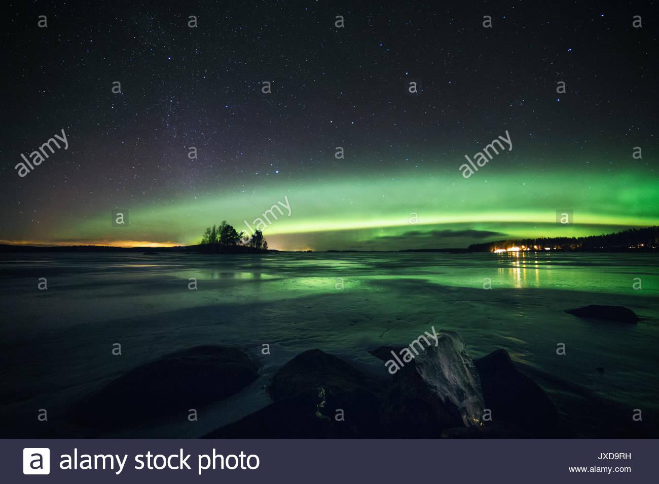 Christmas lights at the sky - Stock Image