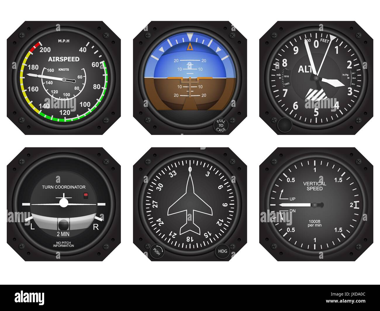 Set of six aircraft avionics instruments. Eps 10 vector illustration - Stock Image