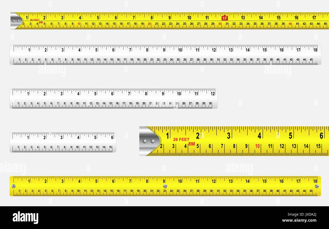 Rulers and tape measures with metric and imperial markings vector. - Stock Vector