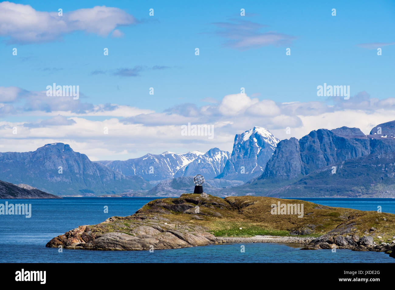 Arctic Circle Monument Globe sculpture on Vikingen Island on west coast. Rødøy municipality, Nordland, Norway, Scandinavia - Stock Image