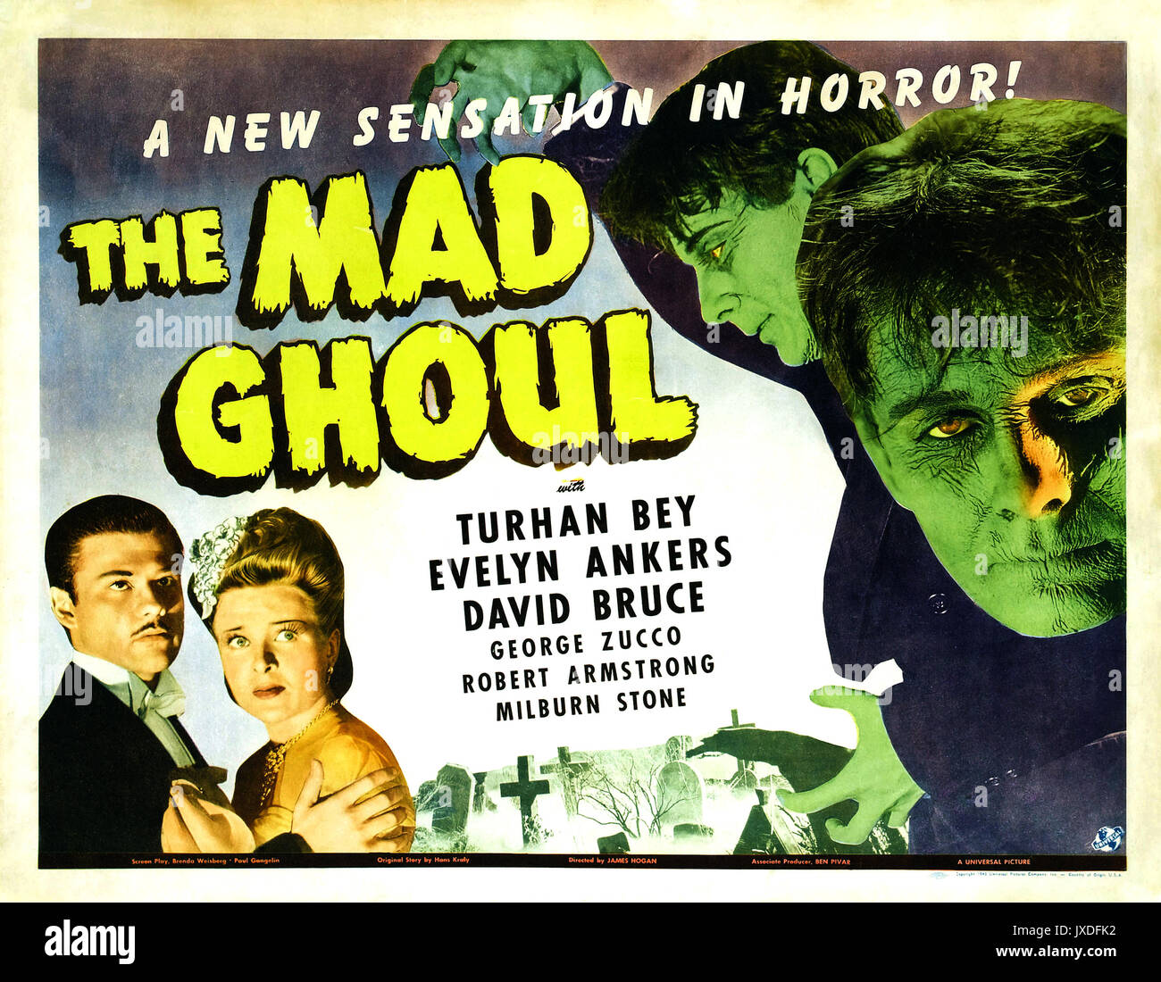 THE MAD GHOUL 1943 Universal Pictures sci-fi film - Stock Image