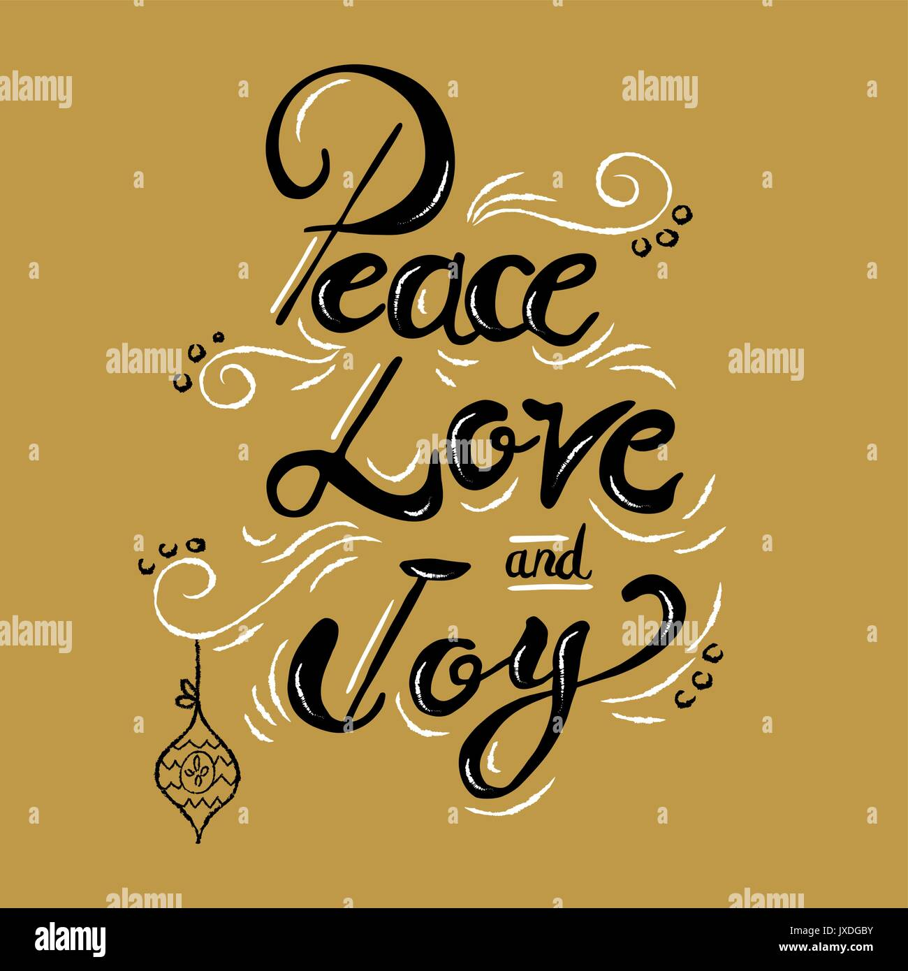 Peace And Joy Quotes: Peace Love And Joy Christmas Calligraphy Quote, Lettering