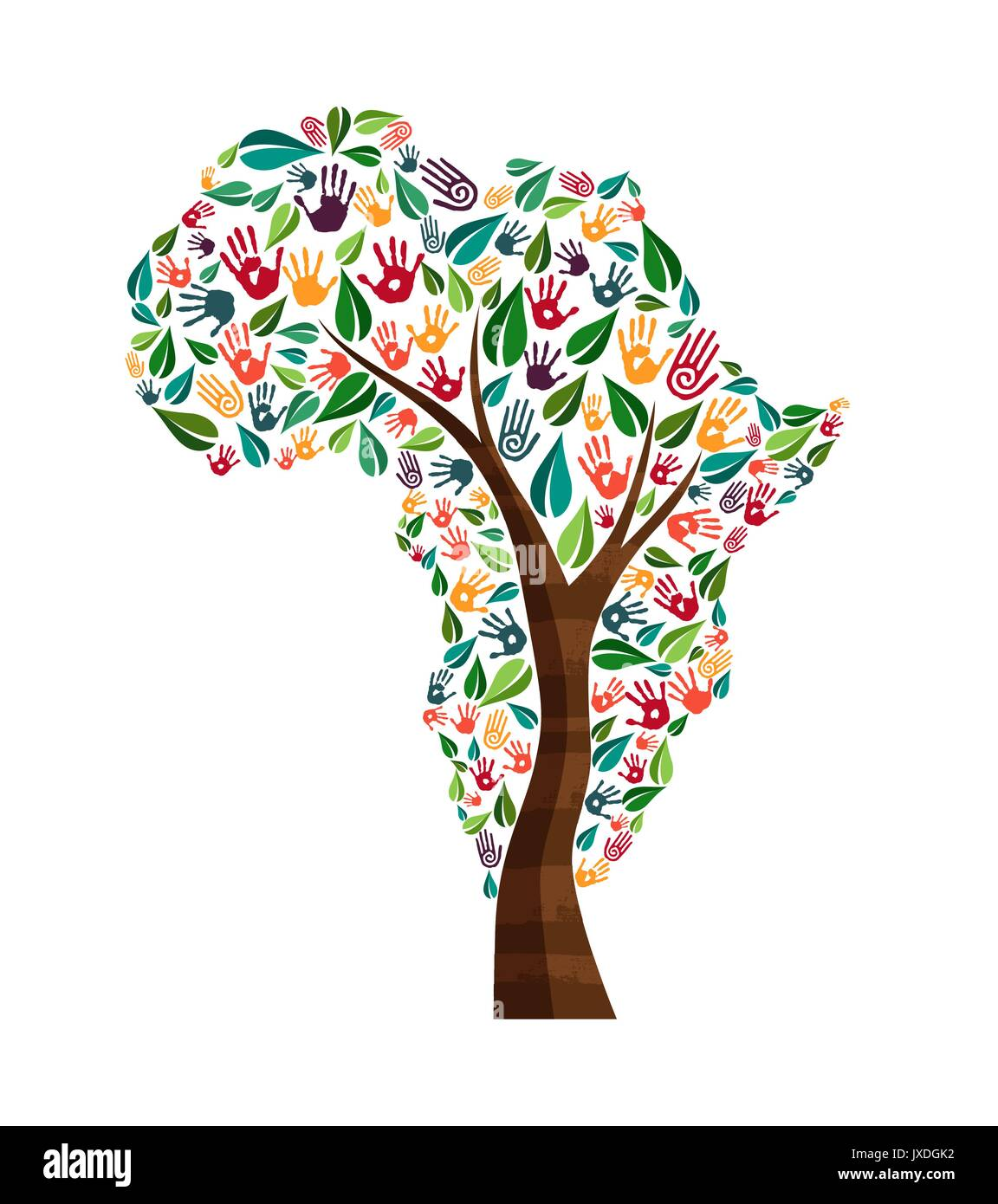 Tree With African Continent Shape And Human Hand Prints Africa World Help Concept Illustration For