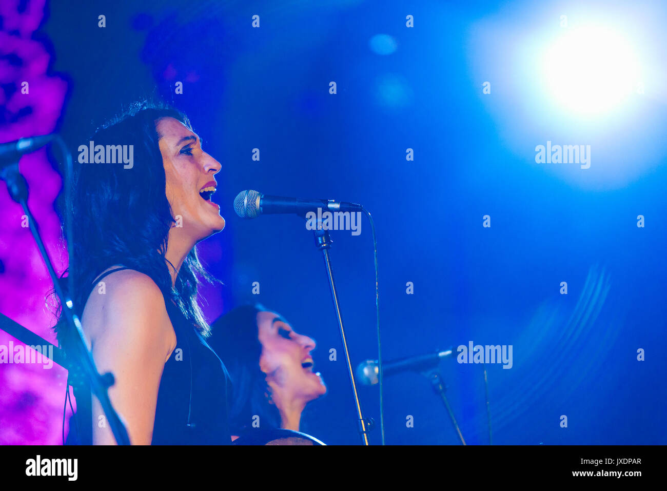 Casas de Reina Spain - august 13 2017: Spanish folk band Acetre in the regina theater - Stock Image