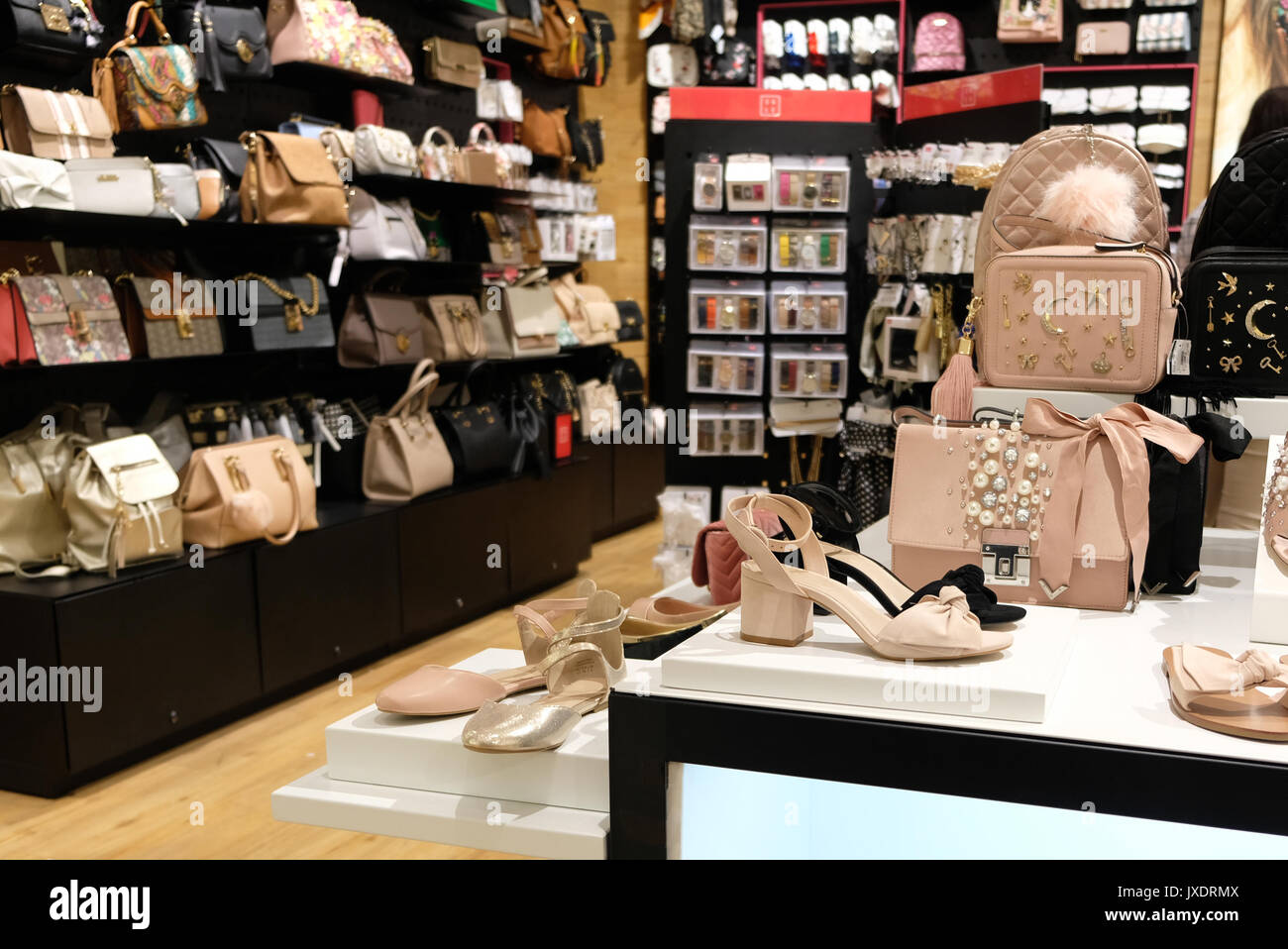 Women's shoes and accessories retail store - Stock Image