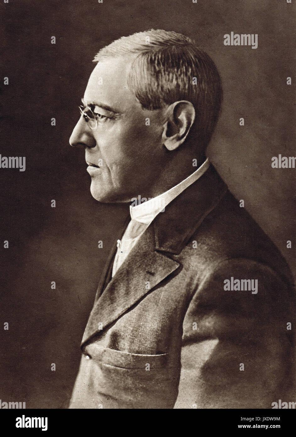 US President Woodrow Wilson  led the United States during World War I - Stock Image