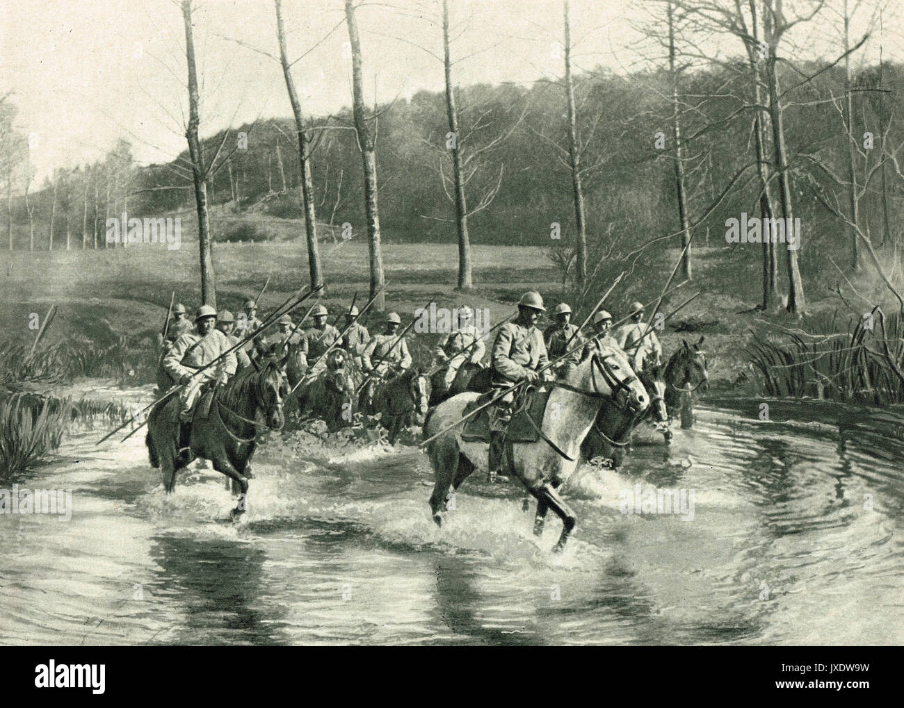 French cavalry crossing a river near Meuse, WW1 - Stock Image