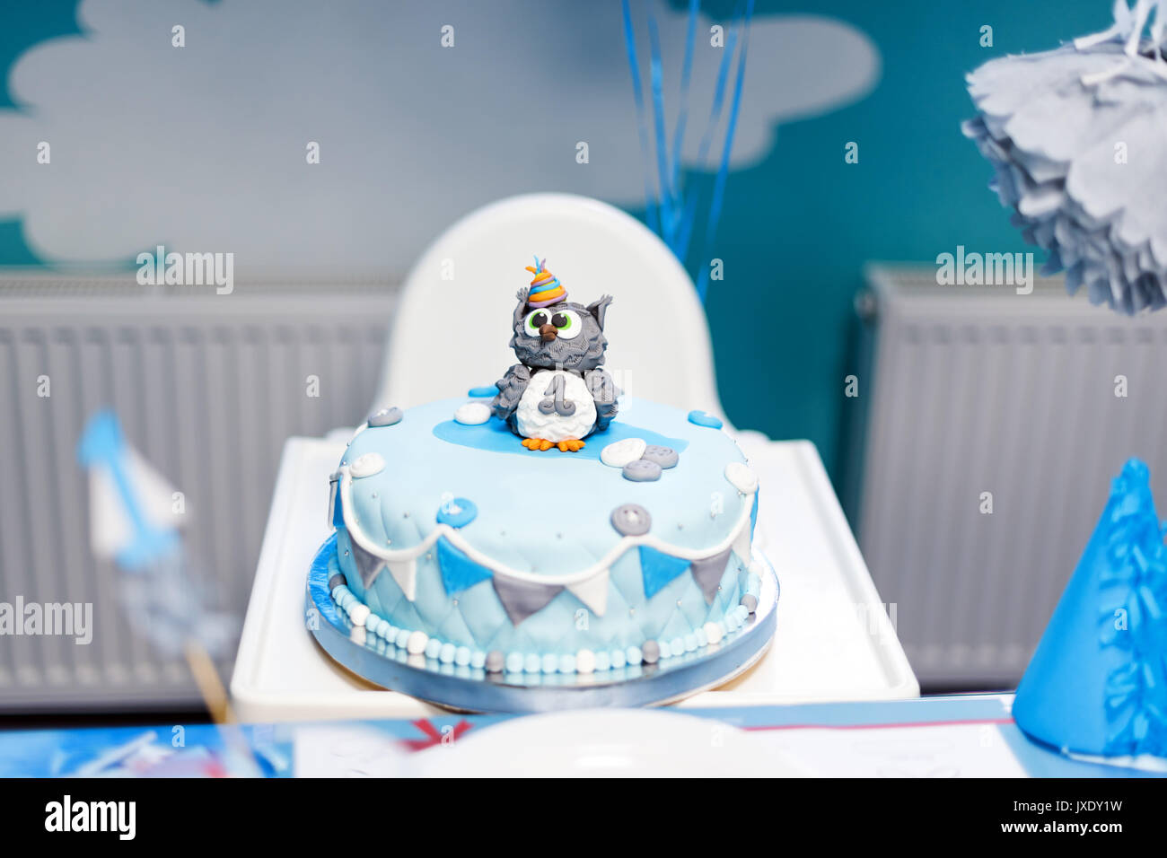 Pleasing Cake For First Birthday Number One And Owl Figure Made Of Sugar Personalised Birthday Cards Akebfashionlily Jamesorg