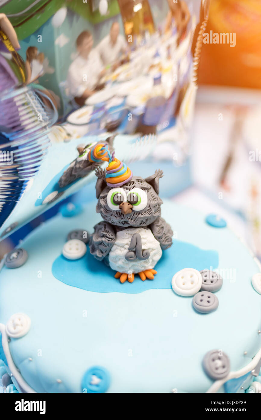 Tremendous Cake For First Birthday Number One And Owl Figure Made Of Sugar Funny Birthday Cards Online Hendilapandamsfinfo