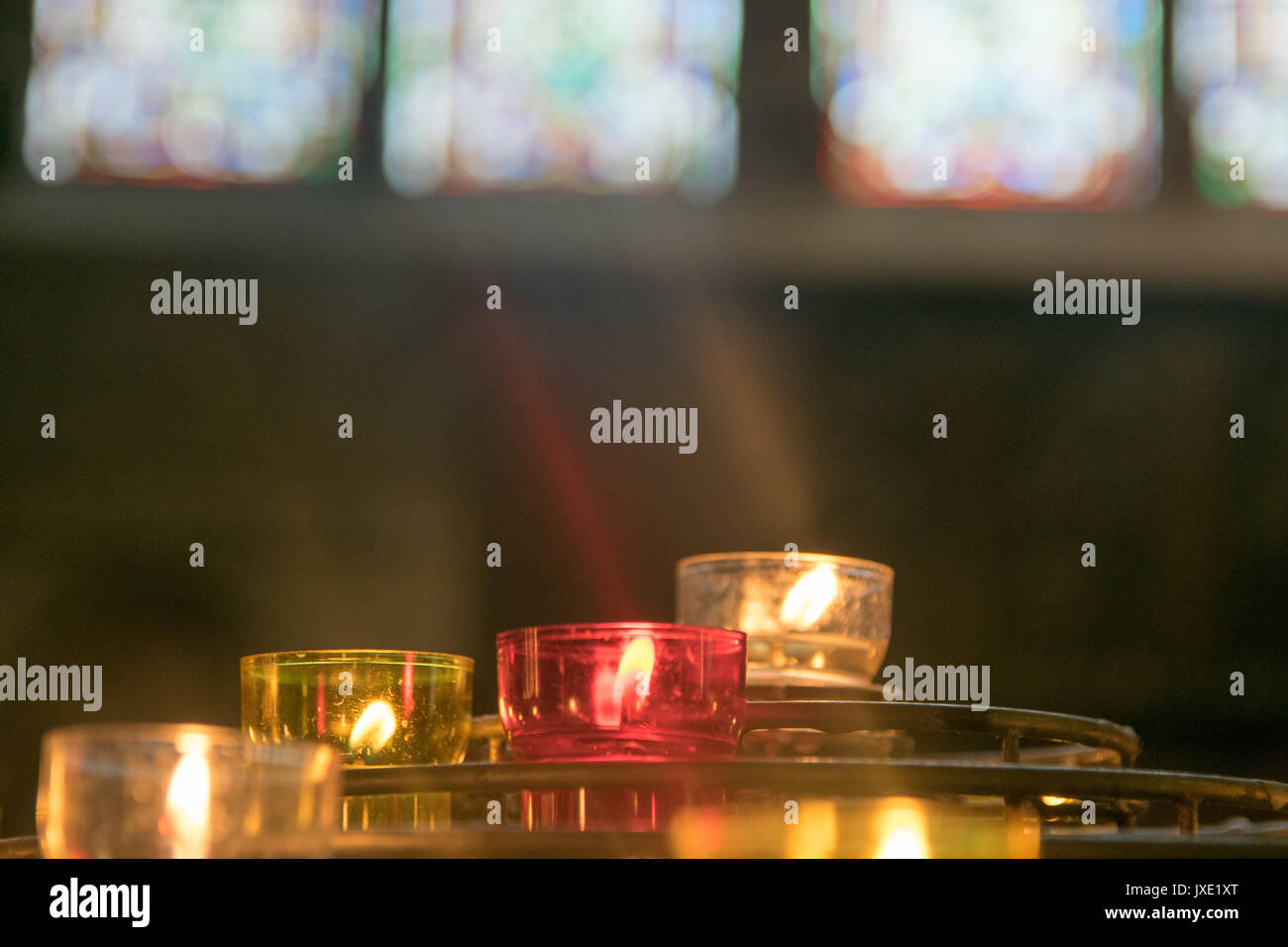 Candles were lighted at Notre Dame church in Paris of France - Stock Image