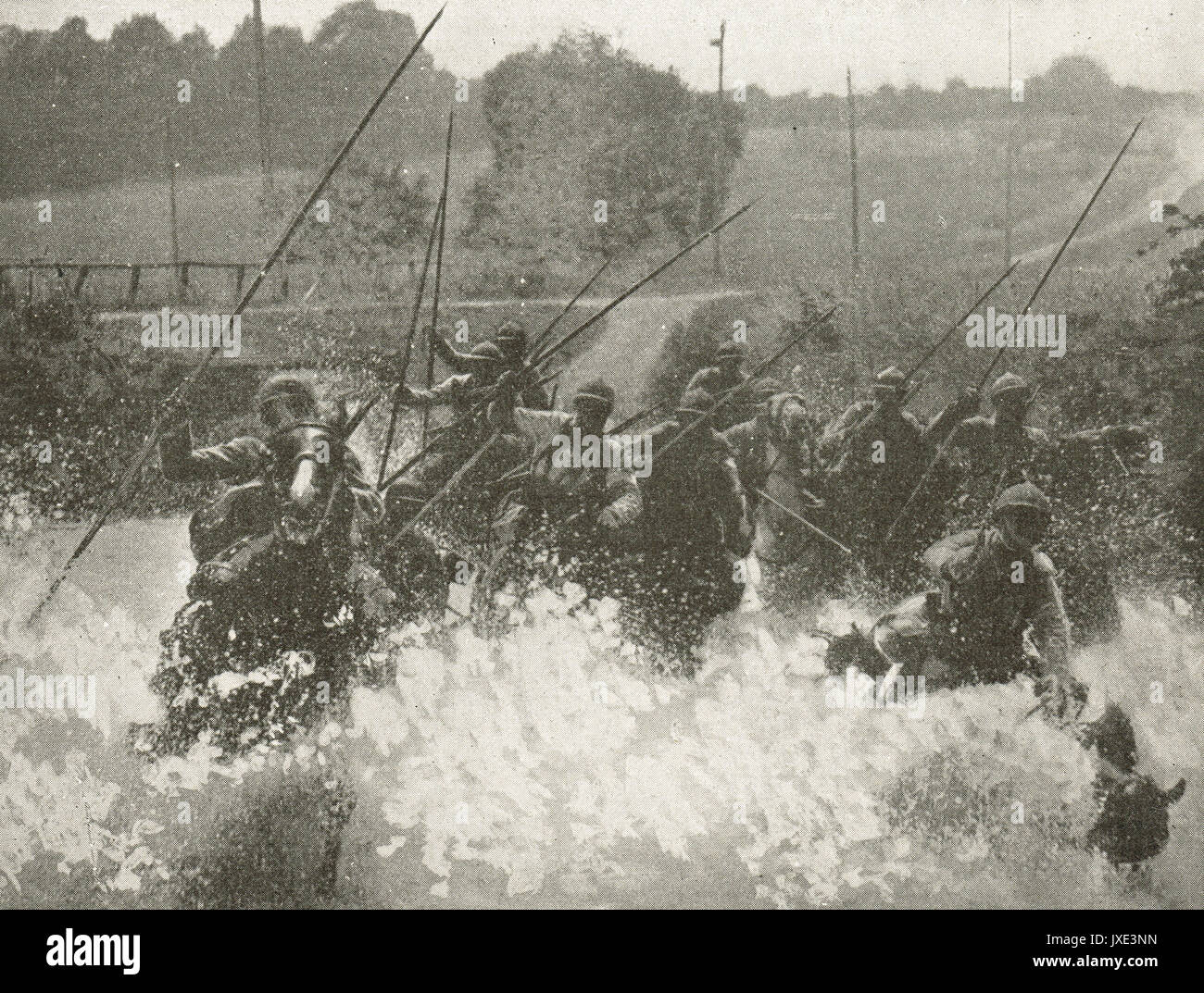 French cavalry charge through stream WW1 - Stock Image